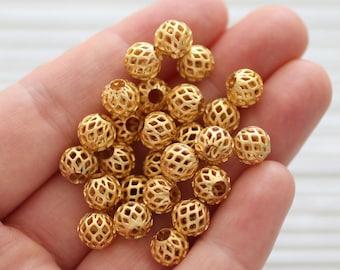 10pc filigree round gold beads, gold metal beads, textured beads, bracelet beads, matte gold beads, round gold beads, cage bead, ball beads