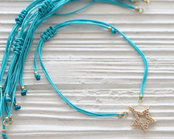 Adjustable turquoise blue string bracelet, DIY cord bracelet blank, semi-ready string bracelet with sliding knot, friendship bracelet, N42