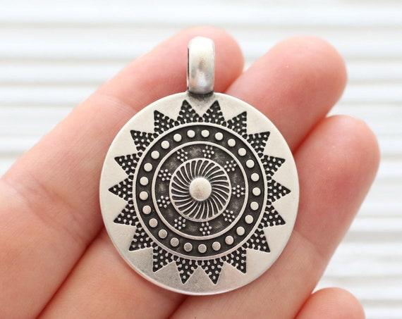 Round pendant, tribal pendant silver, silver medallion, tribal medallion, big pendant, large hole pendant, rustic findings, pendant dangle