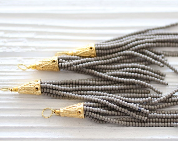Gray beaded tassel, gold cap tassel, grey, short bead tassel, seed bead tassel, tassel earrings, jewelry tassels,bead tassel,necklace tassel