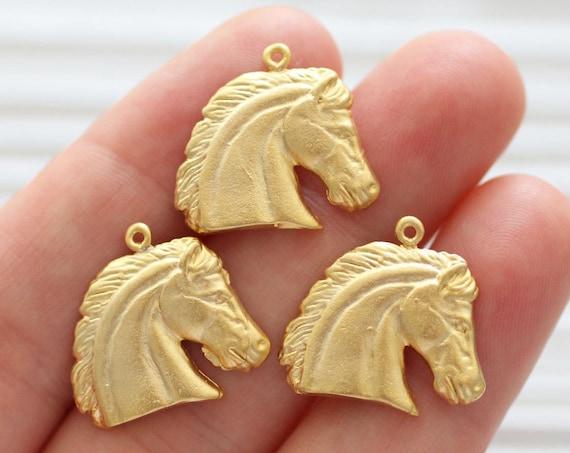 2pc horse charm gold, horse head pendant, animal charms, gold charms, dangle charms, horse head charm, bracelet charms, earrings dangle