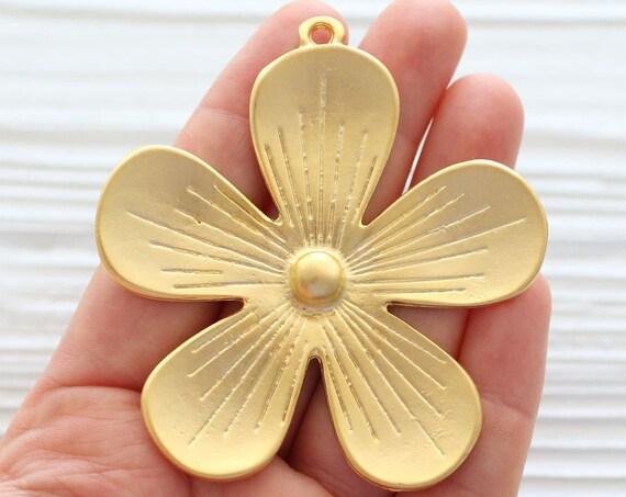 Flower pendant, daisy pendant, gold flower medallion, gold pendant, flower medallion, gold flower pendant, large leaf flower, daisy, flowers