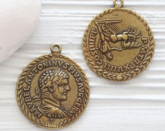 Antique gold coin pendant, Greek coin pendant, coin medallion, coin dangles, replica Greek coins, coin pendant gold, ancient coin pendant