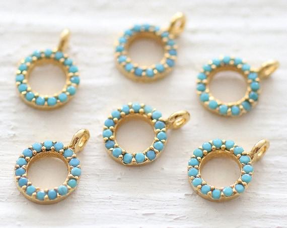 Gold round charm, circle charms, blue bead charms, bracelet charms, gold earrings charms, beaded charms, mini circle pendant, dangles