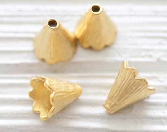 2pc gold bead caps, tassel caps, bead cones, gold end caps, bead cap, tribal tassel cap, matte gold, gold bead cap, rustic, hammered