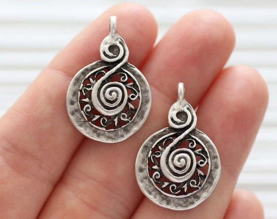 2pc spiral charm pendant, earrings dangle, tribal, earring charms, silver round charms, large pendant charms, dangle pendant, large hole
