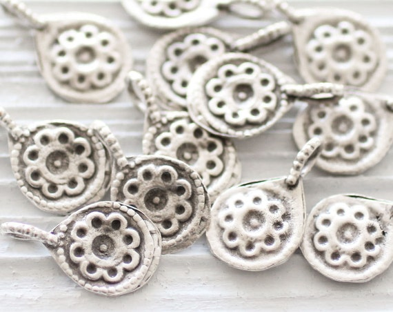 5pc silver flower charms, earrings charm, bracelet charms, large silver charms, dangles, tribal charms, metal charms, silver flower beads