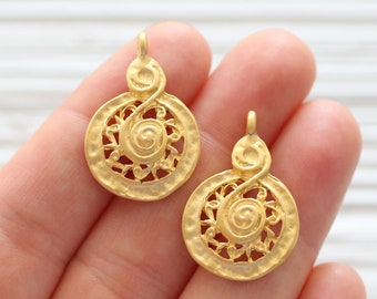 2pc spiral charm pendant, earrings dangle gold, tribal, earring charms, gold round charms, filigree pendant charms, dangle pendant
