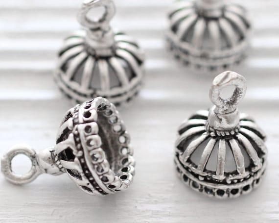 2pc silver crown bead cap, metal bead caps, silver bead cones, large silver end caps, filigree tassel cap, rustic crown tassel cap