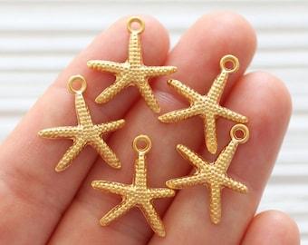 5 Gold Starfish Charms chs6691 17mm