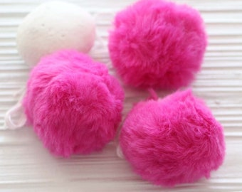 "Magenta pom pom, 2"" garland pom pom, puff soft fur pom poms for beanie hats keychains purses bridal shower decor, fuschia garland poms, N2"