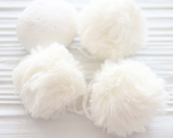 "Ivory pom pom, 2"" garland pom pom, puff pearl fur pom poms for beanie hats keychains purses bridal shower nursery decor, garland poms, N8"