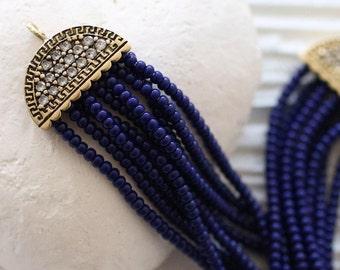 Navy blue beaded tassel, rhinestone antique tassel cap, cobalt seed bead tassel, earrings tassel, necklace tassel pendant, navy, blue,cobalt