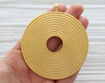 Spiral gold pendant, gold medallion, tribal pendant, large medallion, gold tribal pendant, round medallion, large round pendant, large hole