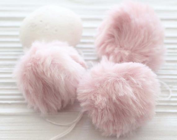 "Pink pom pom, 2"" garland pom pom, pink fur pom poms for baby girl nursery decor, beanie hats keychains purses bridal shower, garland poms,N5"