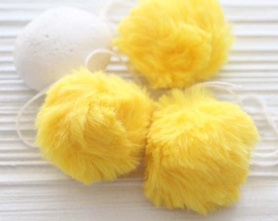 """Yellow pom pom, 2"""" garland pom pom, puff soft yellow fur pom poms for beanie hats keychains purses headband decor, nursery garland poms,N4"""