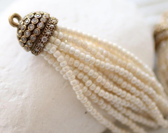 Ivory beaded tassel with rhinestone antique tassel cap, pearl seed bead tassel, ivory earrings tassel, necklace tassel pendant, off white