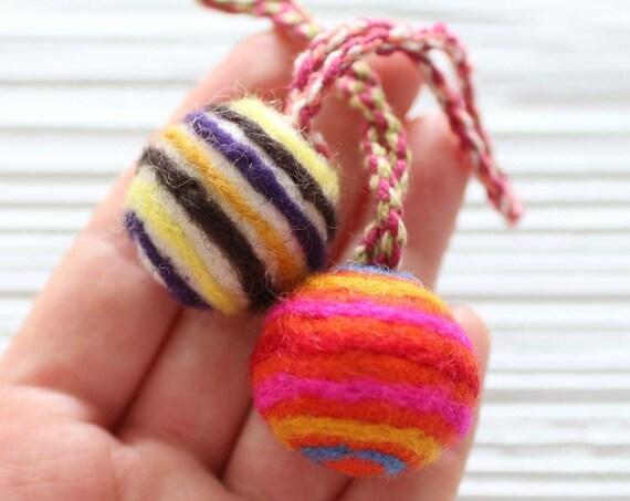 Pom pom charm, striped felt pom poms with hanger, detachable handbag charm, multicolor pom poms for keychains purses, pom pom decor