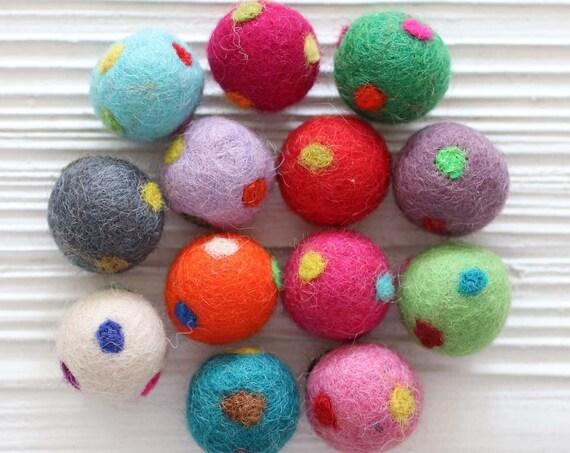 10pc felt pom poms, felt balls, polkadot felt poms, 27mm, garland pom poms, felt pom pom, pom poms for garland, DIY ball garland pom poms
