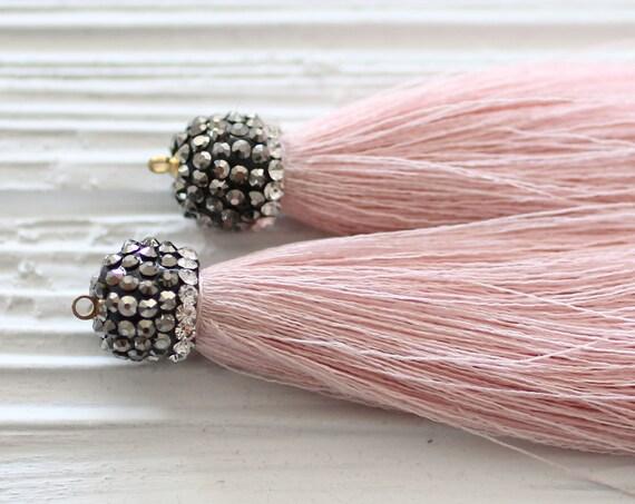 Pink tassel with rhinestone cap, blush pink, baby pink silk tassel, tassel pendant, rhinestones, jewelry tassels, silk mala tassel, tassel