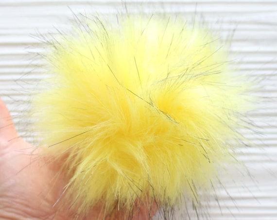 """Yellow pom pom, 5"""" faux fur pom poms for hats keychains purses bridal shower slippers decor, beanie pom pom, large pom pom, home decor, N3"""