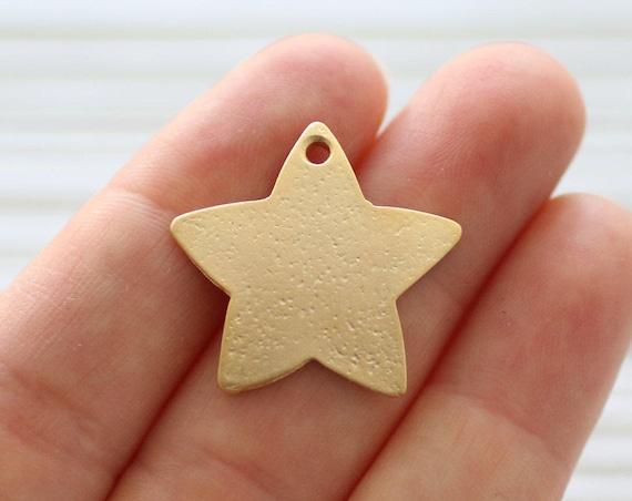 2pc gold star pendant, matte gold star beads, star, bracelet charms, earrings dangle, large gold star, hammered star pendant, dangles