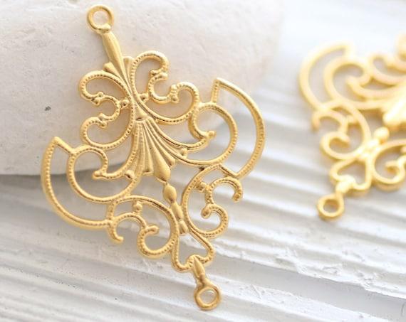 2pc large filigree gold pendant, filigree connector, unique filigree findings, jewelry connectors, gold filigree pendant, earrings dangles