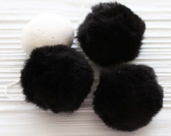 "Black pom pom, 2"" black garland pom pom, puff black fur pom poms for beanie hats keychains purses home decor curtains, garland poms, N3"