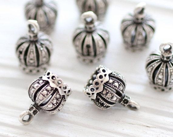 2pc mini silver crown tassel cap, silver bead caps, silver bead cones, tiny silver end caps, filigree tassel cap, tribal crown tassel cap,S