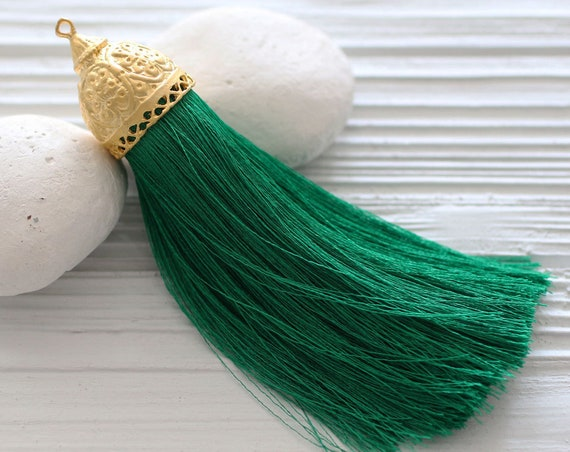 Extra large green silk tassel with rustic gold tassel cap, silk tassel, tassel, tassel pendant, emerald, drawer knob decor tassels, N40