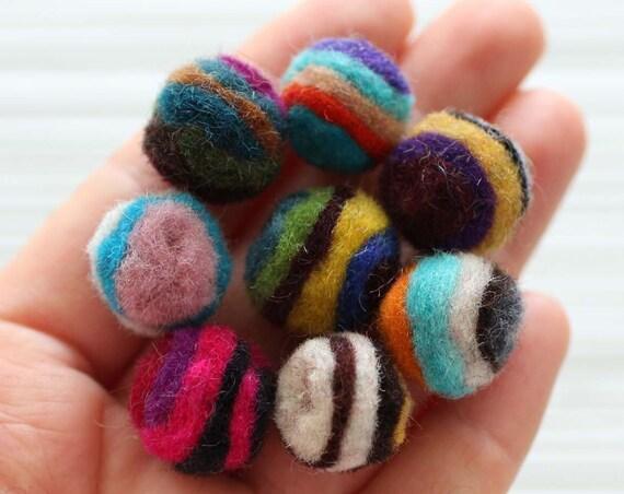 10pc felt pom poms, felt balls, striped felt poms, 20mm, garland pom poms, felt pom pom, pom poms for garland, DIY ball garland pom poms