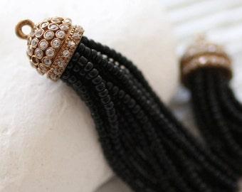 Black beaded tassel with rhinestone antique tassel cap, black seed bead tassel, black earrings tassel, necklace tassel pendant, tassel