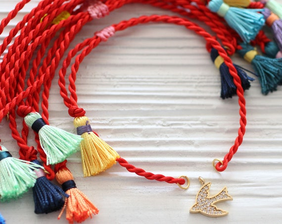 Red friendship bracelet blank, red cord bracelet with tassels, DIY cord bracelet blank, semi-ready cord bracelet, red string bracelet, N27