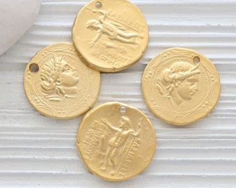 Gold coin pendant, Greek coin pendant, large gold coin medallion, coin dangles, replica Greek coins, ancient coin pendant gold, coins, N4