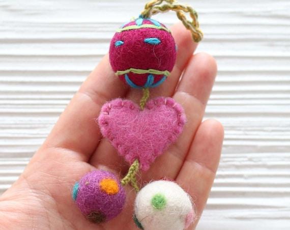 Pom pom charm, heart felt pom poms with hanger, detachable handbag charm, multicolor pom poms for keychains purses, pom pom decor