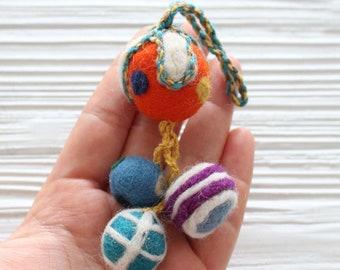 Pom pom bag charm, multicolor felt pom poms with hanger, detachable handbag charm, pom poms for keychains purses, pom pom decor, ornaments
