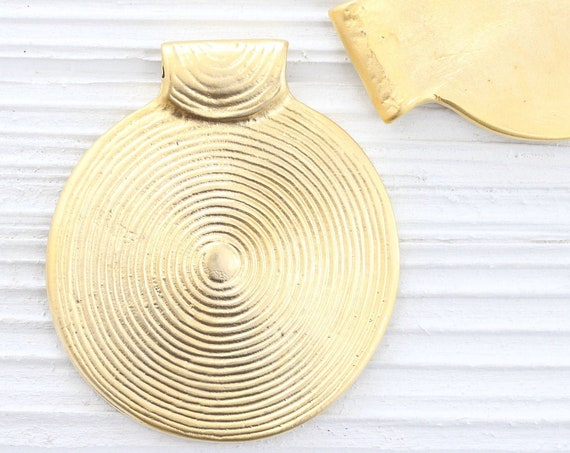 Round pendant gold, spiral pendant, large medallion, gold tribal pendant, large metal pendant, matte gold focal pendant
