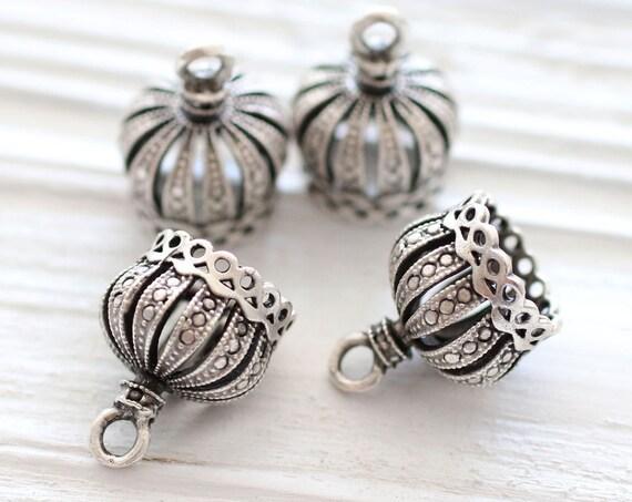 2pc silver crown tassel cap, metal bead caps, silver bead cones, large silver end caps, filigree tassel cap, tribal crown tassel cap, M
