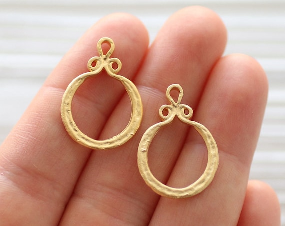 10pc large gold tribal charms, mini filigree circle pendant, gold hoops, loop charms, earrings dangle, rustic, boho large hole charm, round