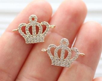 Rhinestone connector charm, rhinestone crown, gold pave charms, gold Christmas charms, rhinestone pendant,earrings dangle,bracelet connector