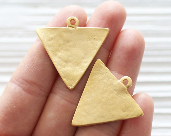 2pc gold triangle charm, triangle pendant, earring charms, geometric pendant, tribal pendant, earrings dangle, hammered pendant, flat charms