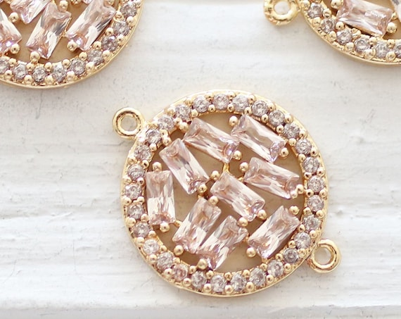 Rhinestone charm connector, pave charms gold, pave connectors, clear crystal earring charms, crystal jewelry, round bracelet connector