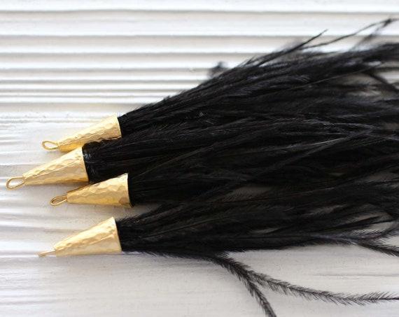 Black feather tassel, black tassel, jewelry tassels, feathers, feather earrings tassel, tassels with gold cap, necklace, purse tassel, N8