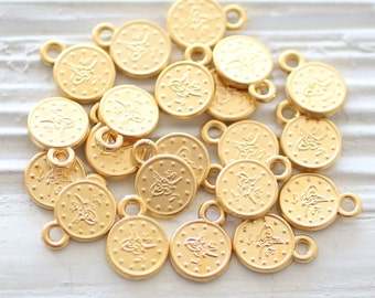 10pc matte gold coins, disc beads, metal coins, mini coin, tribal bead, mini metal charms, gold charms, bracelet earring charms, old coins,M