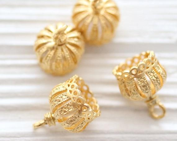 2pc matte gold crown tassel cap, metal gold bead caps, gold bead cones, large gold end caps, filigree tassel cap, tribal crown tassel cap, M