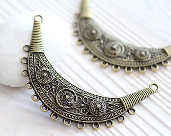 Tribal pendant connector, large antique gold connector,  multi strand, metal collar, crescent, antique gold collar, crescent moon necklace