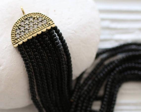 Black bead tassel, rhinestone antique tassel cap, black seed beaded tassel, earrings tassel, necklace tassel pendant, glitter, black tassel
