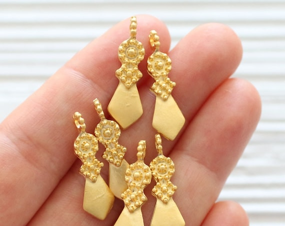 10pc large gold tribal earrings charms, gold dagger, large gold charms, earrings dangle, tribal findings, rustic, boho, large hole beads