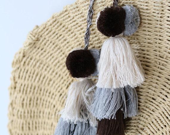 Beige gray pom pom tassel, purse charm, gray brown pom poms tassel bag charm, keychain pom poms, knob decorative pom poms, tassel swags