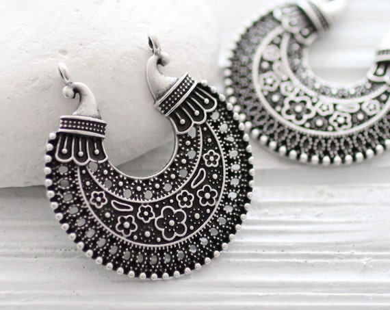 Silver filigree tribal pendant, filigree connector, silver filigree crescent, filigree, tribal charms, round charms, unique jewelry findings